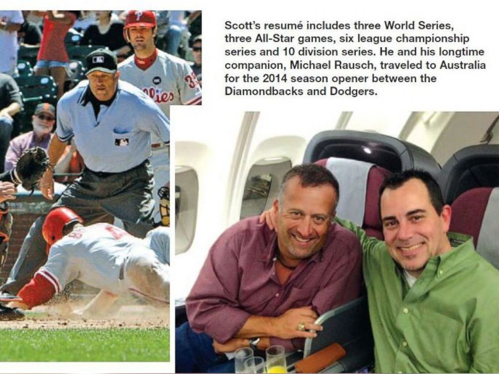 PHOTO: MLB umpire Dale Scott was profiled in the October 2014 issue of Referee magazine with caption, He and his longtime companion, Michael Rausch, traveled to Australia for the 2014 season opener between the Diamondbacks and Dodgers.