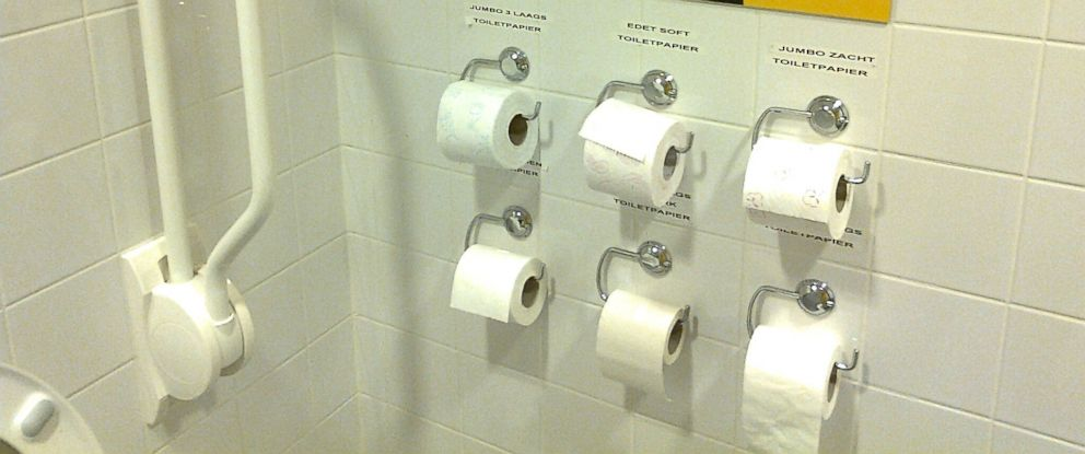 PHOTO: Dutch supermarket Jumbo displays an array of toilet paper.