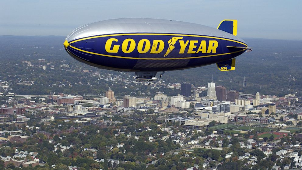 PHOTO: The Goodyear Blimp Stars and Stripes flyin