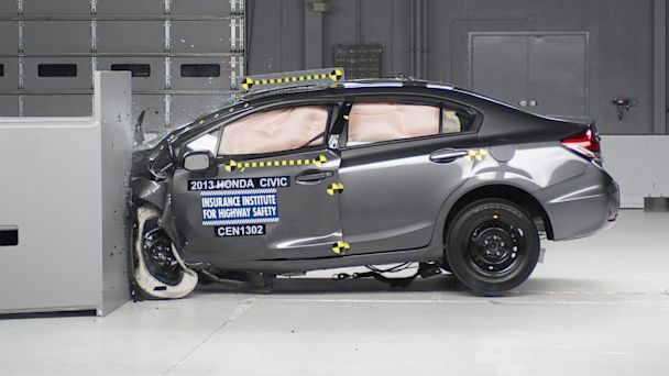 PHOTO: Action shot taken during the small overlap frontal crash test on the 2013 Honda Civic 4-door, Jan 29, 2013.