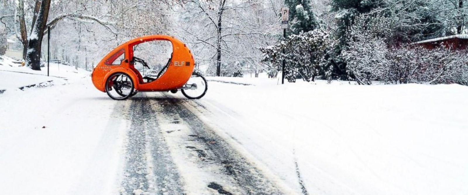 "PHOTO: An ""Elf"" sun powered trike by Organic Transit is seen in Salt Lake City (base price $4,995)."