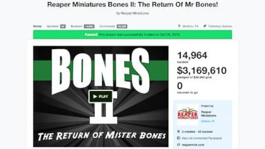 PHOTO: The Kickstarter page for Reaper Miniatures Bones II, which raised $1 million in 2.7 hours.