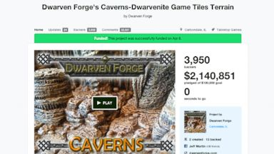 PHOTO: The Kickstarter page for Dwarven Forges Caverns, which raised $1 million in 5.12 hours.