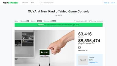 PHOTO: The Kickstarter page for OUYA: A New Kind of Video, which raised $1 million in 9 hours.