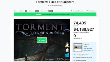 PHOTO: The Kickstarter Torment: Tides of Numener, which raised $1 million in 6.08 hours.