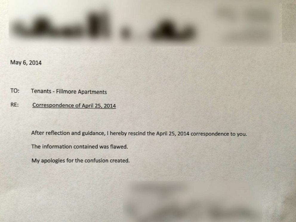 PHOTO: The landlord in San Francisco who notified tenants they needed an income of $100,000 has rescinded his memo.