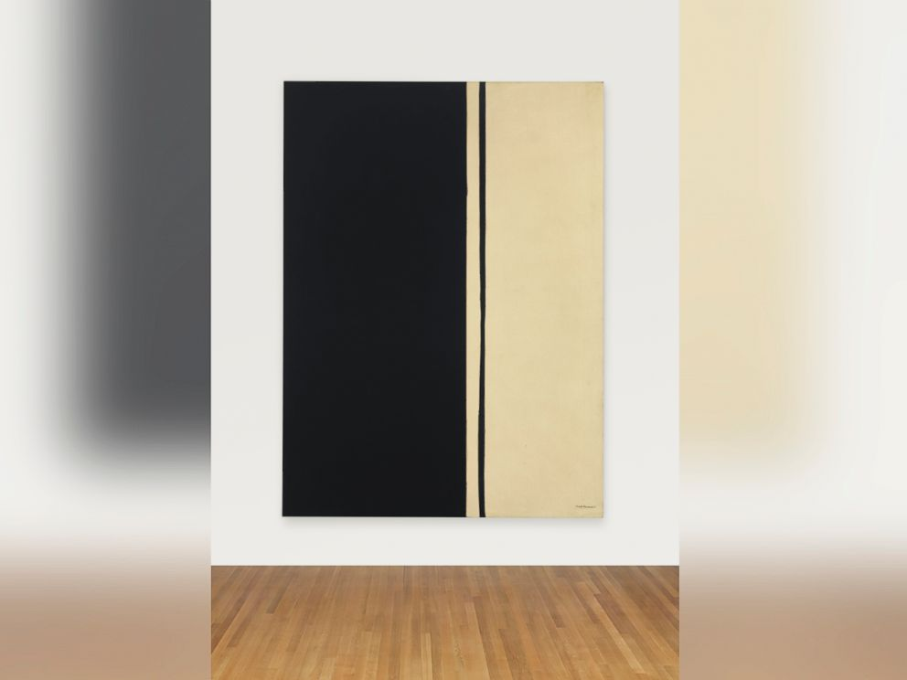 PHOTO: Black Fire I by Barnett Newman sold for $84,165,000.