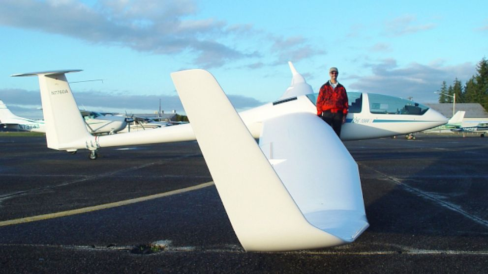 PHOTO: Mr. Lynn Weller with his glider.
