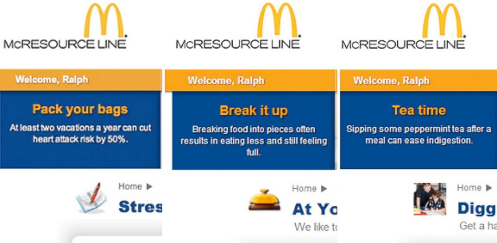 PHOTO: McDonalds offers offensive tips to workers.