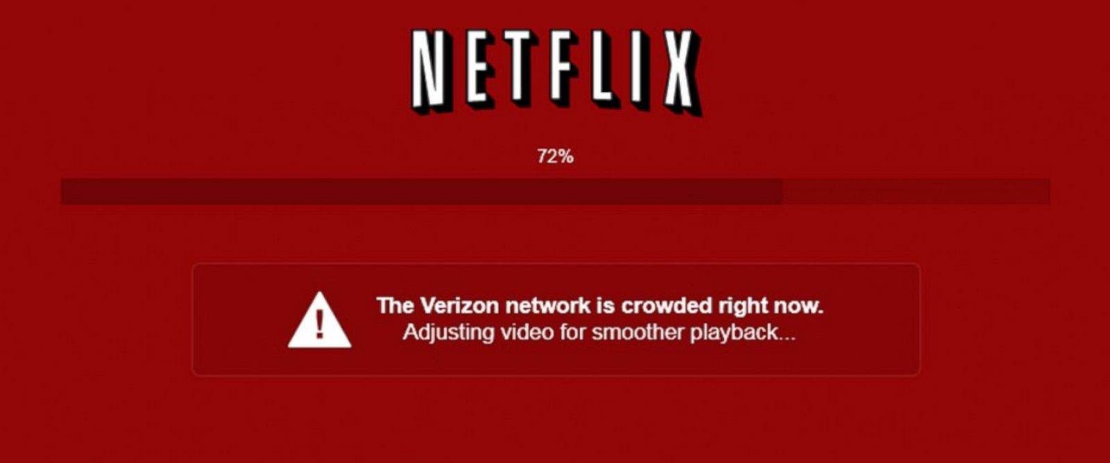 PHOTO: Vox Media employee Yuri Victor tweeted this photo of a Netflix loading screen that indicated Verizons network speeds were to blame for slow video playback.