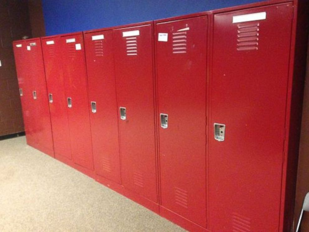PHOTO: Red lockers, from the visiting teams clubhouse, part of a sale by the Newark Bears