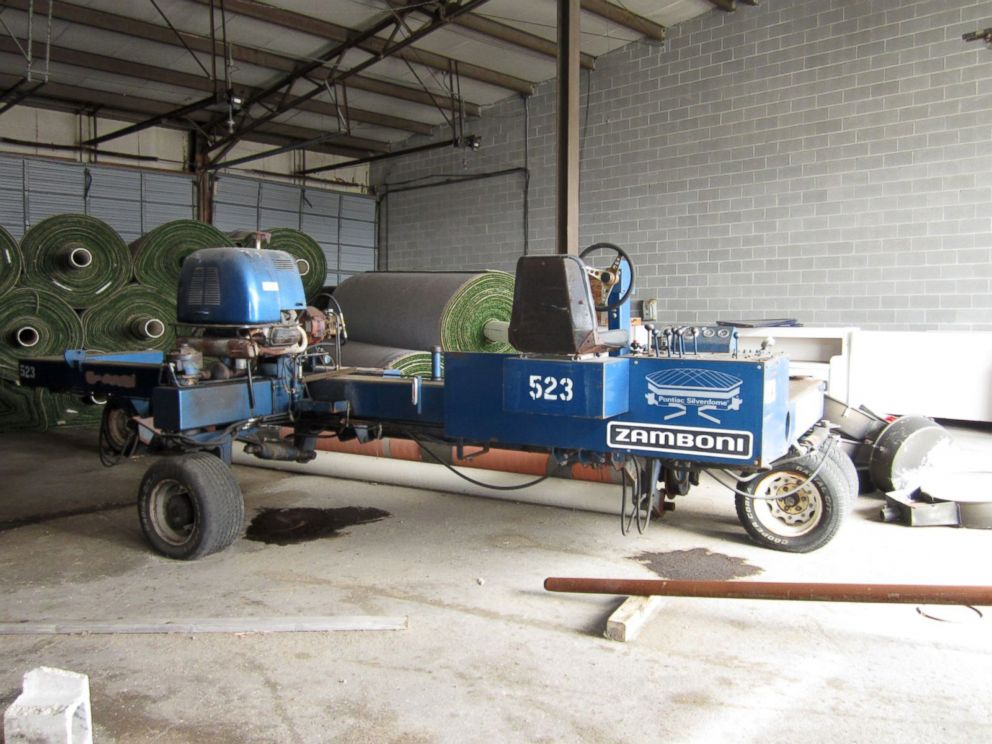 PHOTO: A Zamboni turf machine at the Silverdome in Pontiac, Mich.