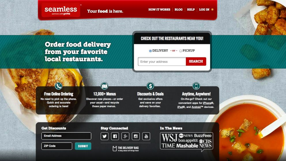 PHOTO: Seamless.coms homepage.