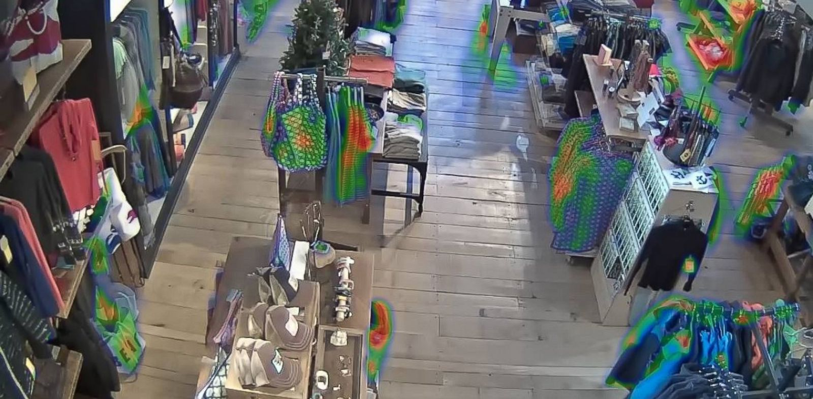 """PHOTO: A """"heat map"""" shows items in a store, color-coded by how much time customers have spent looking at a given item."""
