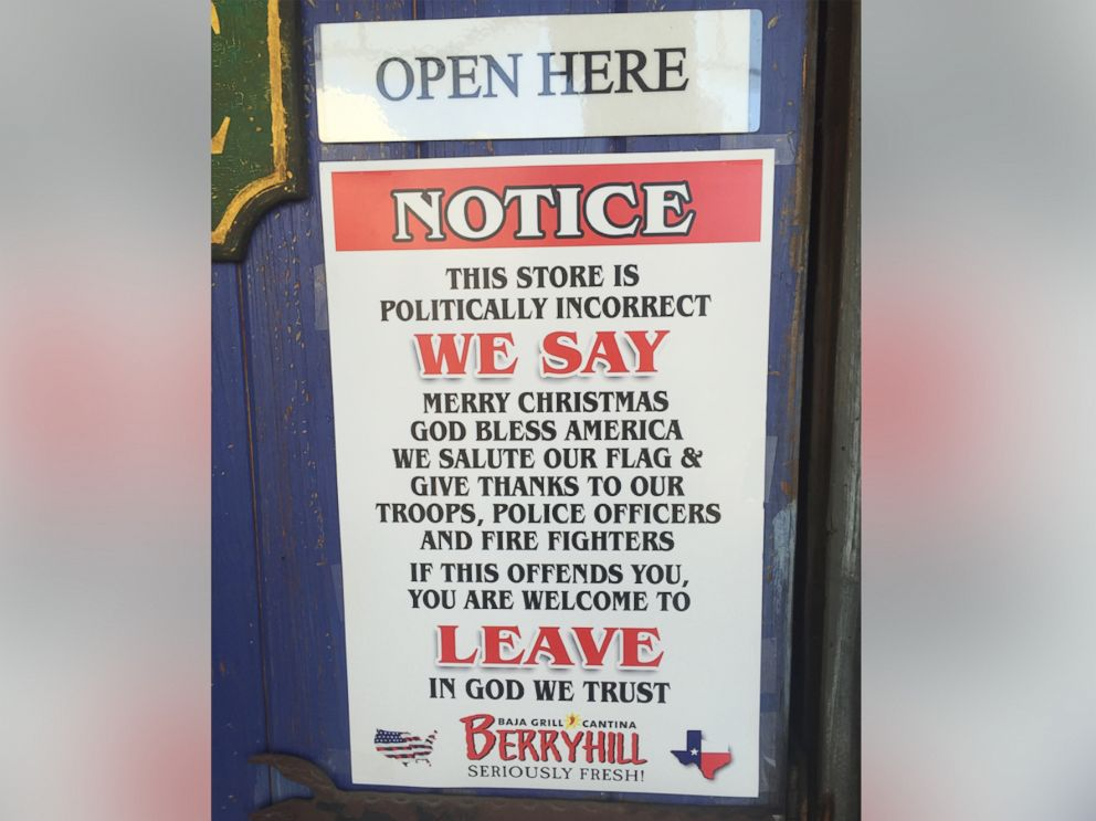 Texas Restaurant Chain Touts Politically Incorrect