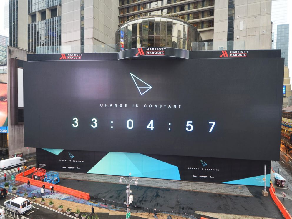 PHOTO: The biggest billboard in Times Square spans 77.69 feet by 329.65 feet.