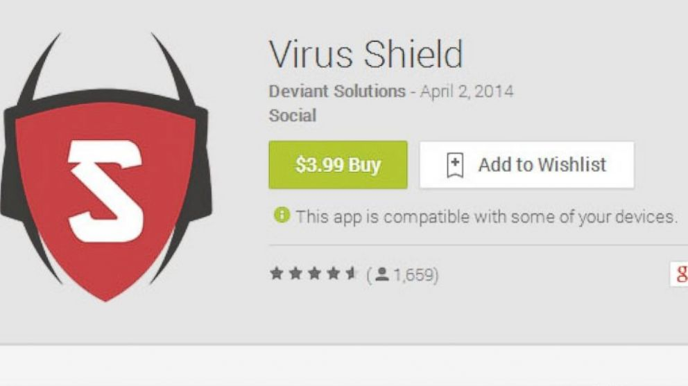 "PHOTO: The Google Play page for ""Virus Shield,"" which has since been removed from the Google Play store."
