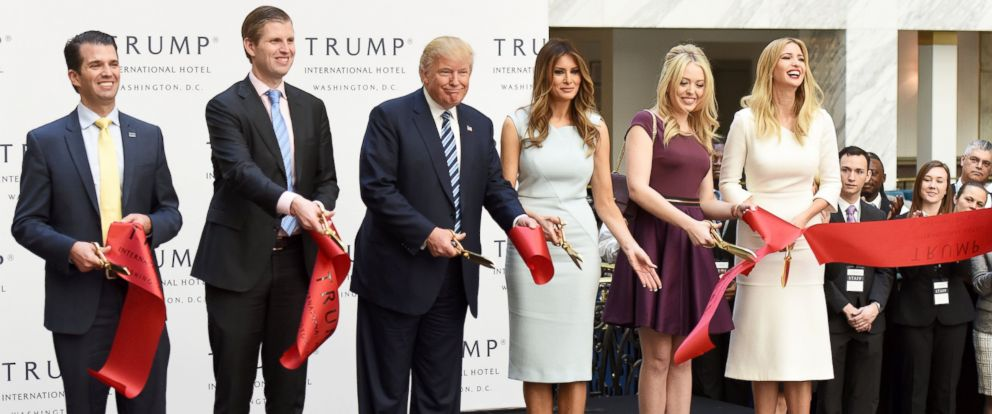 PHOTO: Republican presidential nominee Donald Trump and his family members cut the ribbon during the opening and ribbon cutting ceremony of Trump International Hotel in Washington, D.C., on Oct. 26, 2016.