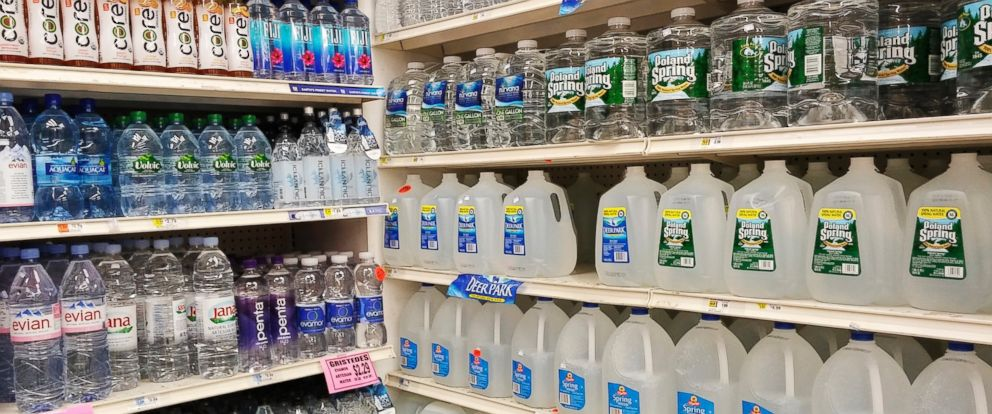 PHOTO: A display of bottled water is seen in a supermarket in New York, March 17, 2016.