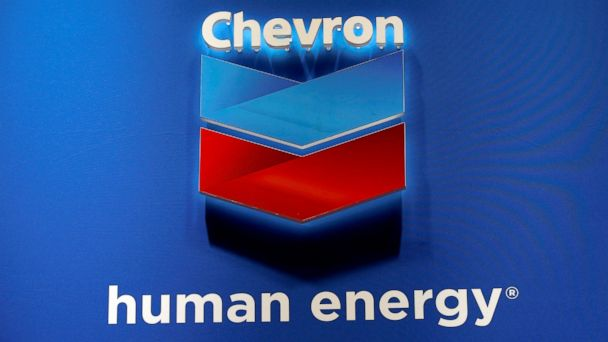 PHOTO: The logo of Chevron Corp is seen in its booth at Gastech in Chiba, Japan, April 4, 2017.