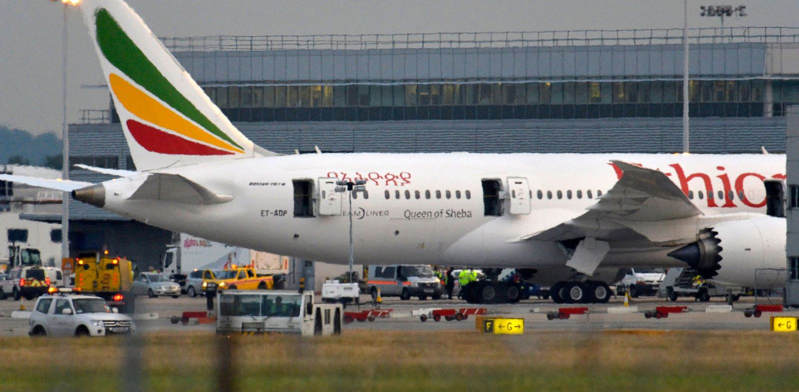 PHOTO: Emergency services attend to a Boeing 787 Dreamliner, operated by Ethiopian Airlines