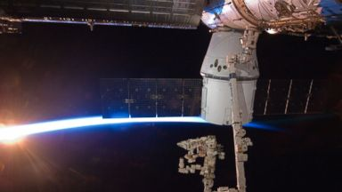 PHOTO: SpaceX Dragon commercial cargo craft, berthed to the Earth-facing side