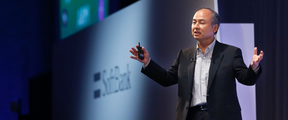 In this July 20, 2017 photo, SoftBank Group Corp. Chief Executive Officer Masayoshi Son speaks during a SoftBank World presentation in Tokyo. SoftBank said Monday, Aug. 7, 2017 its quarterly net profit was 5.5 billion yen ($50 million), down from 254