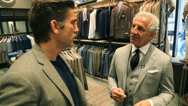 PHOTO: US menswear designer Joseph Abboud talks Italian suits made in America with ABC News' David Muir in Boston.