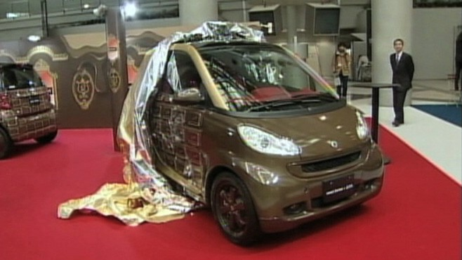 VIDEO: Tadaaki Wakamatsu displays a Mercedes smart car designed to look like chocolate.