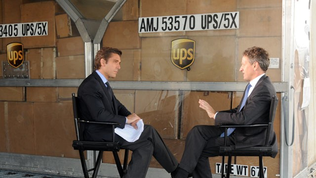 PHOTO:&nbsp;Treasury Secretary Timothy Geithner is interviewed by ABC News' David Muir