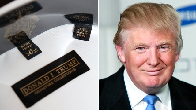 PHOTO: A dress shirt from the Donald Trump clothing line which bears the Trump name shows a tag stating it was manufactured in China.