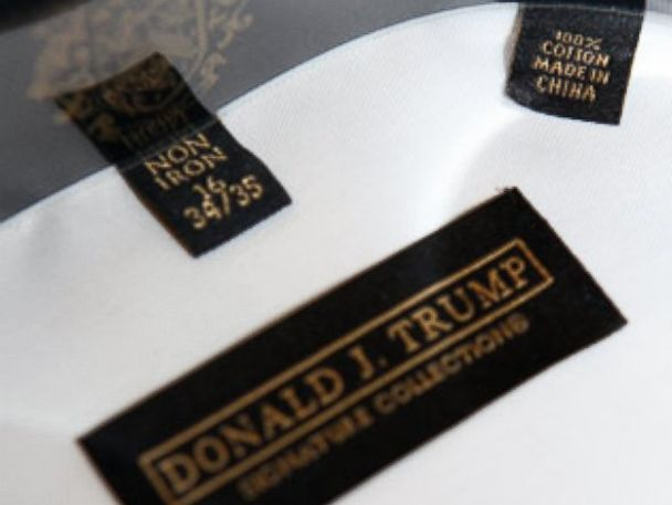 PHOTO: Donald Trump and a clothing label from his collection are seen in this undated file photo.