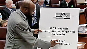 "Photo: Chicago alderman: ""Sad"" contrast between Wal-Mart CEOs pay and employee wages"