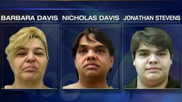 PHOTO: Police in Maine have arrested twins Barabara Davis and Nicholas Davis, 41, and their 20 year old godson, Jonathan Stevens.
