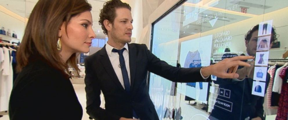 PHOTO: Uri Minkoff shows ABCs Rebecca Jarvis the touchscreen shopping features installed in his sister Rebecca Minkoffs new boutique in New York City.