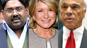 PHOTO From left to right: Raj Rajaratnam, Martha Stewart, and Angelo Mozilo are shown in these file photos.