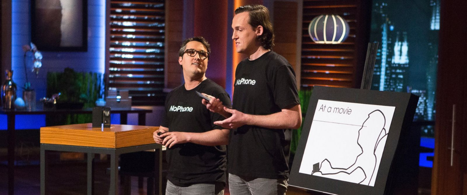 "PHOTO: Two advertising guys in New York try to sell the Sharks a cure for cell-phone addiction on ""Shark Tank,"" April 8, 2016."