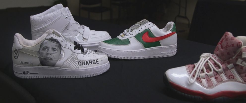 Examples of fake sneakers seized by authorities.