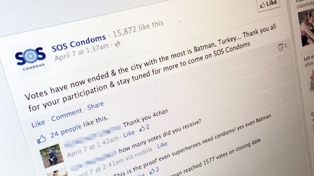 PHOTO: Durex asked Facebook fans to vote on what city should get SOS Condoms in a recent online marketing campaign.