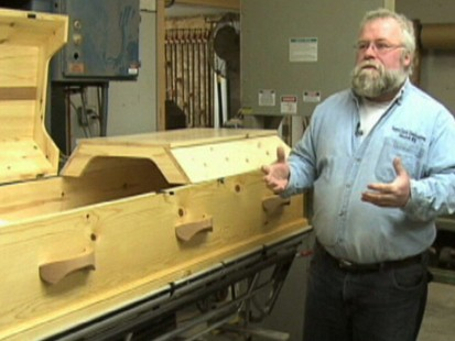 VIDEO: Patrick Kilby sells caskets made of wood.