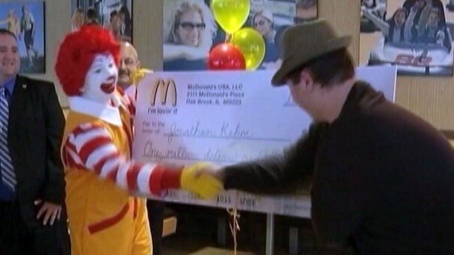 VIDEO: Jonathan Kehoes trip to McDonalds comes with a grand prize win.