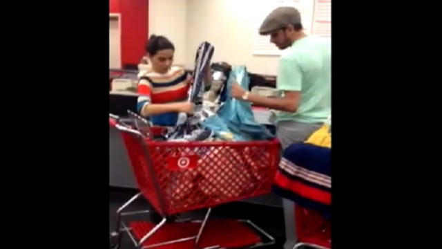 VIDEO: Fellow shoppers in Miami store outraged over reputed hoarding of merchandise.