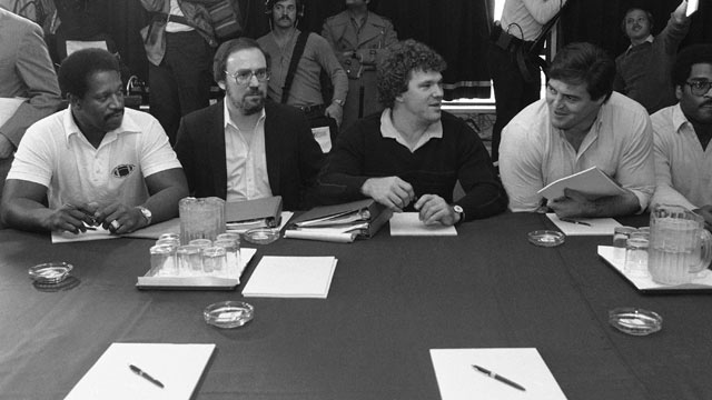 PHOTO: Negotiations in the National Football League players strike resumed on Oct. 30, 1982 in New York with player representatives, from left to right, Gene Upshaw, Dick Bertelsen, Stan White and Tom Condon, joining owner representative Jack Donlan, Ed G