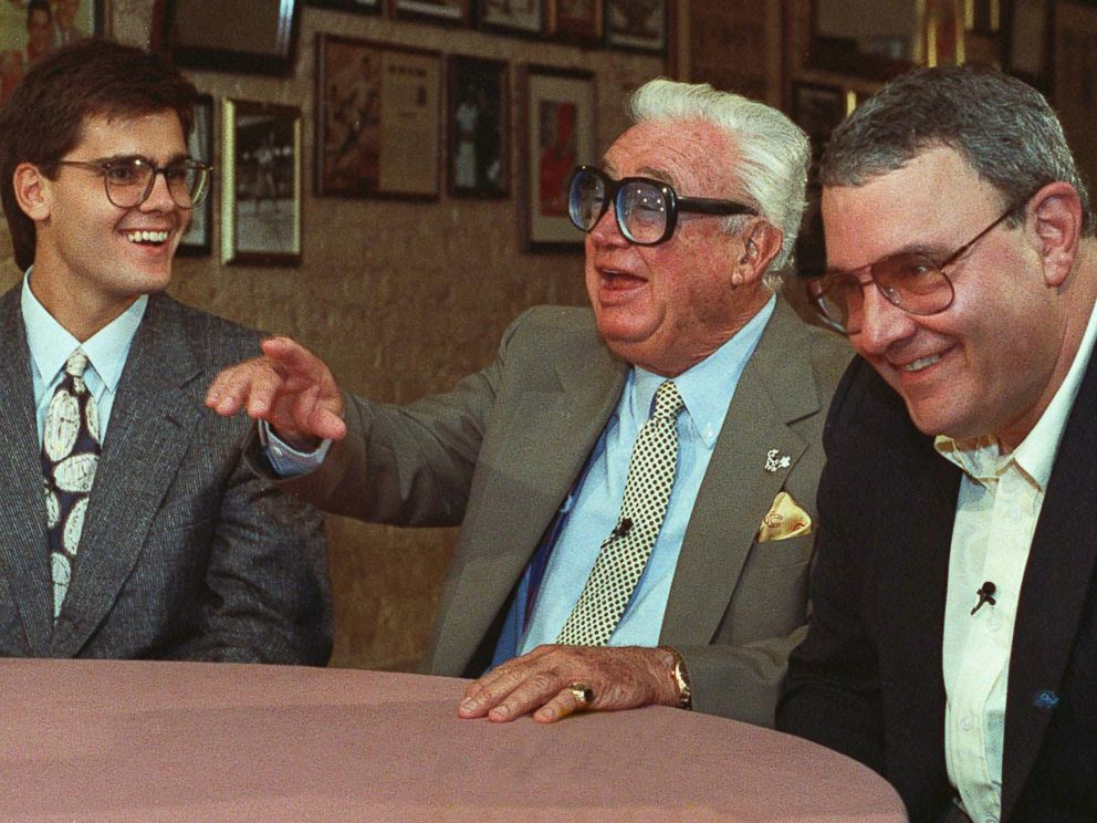 PHOTO: Hall of Fame baseball announcer Harry Caray, center, with his son Skip, right, and grandson Chip, pose together in Chicago, May 13, 1991.