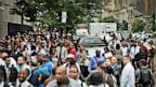 PHOTO: Hundreds stood in a line that spilled into the street and stretched for blocks, during a combined Metropolitan Transportation Authority (MTA) and Harlem Week job and career fair on Aug. 8, 2013 at Columbia University in New York.