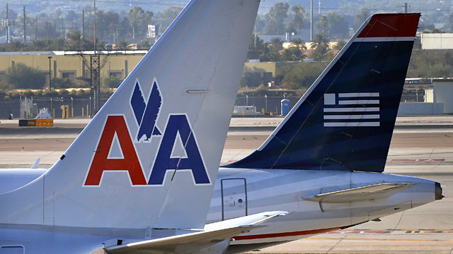 PHOTO: American Airlines and US Airways jets
