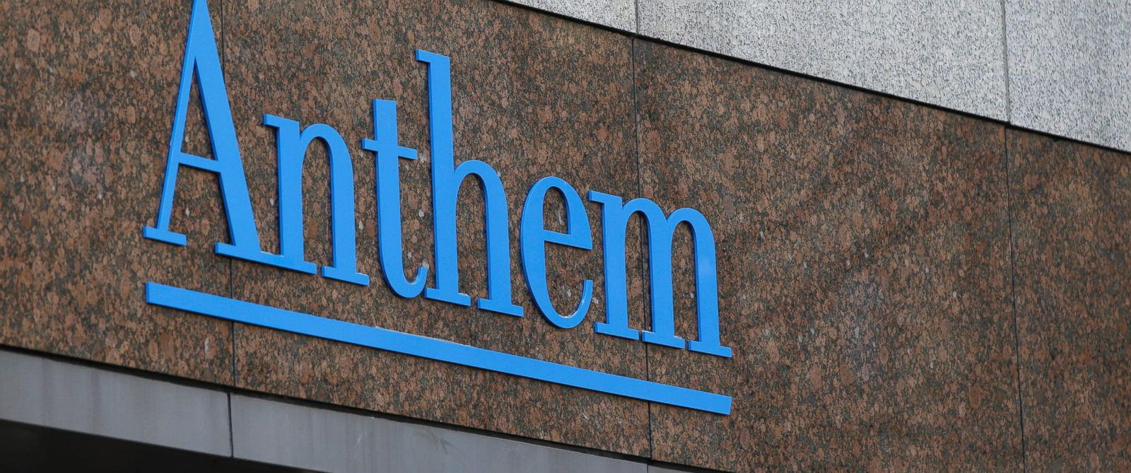 PHOTO: This Dec. 3, 2014 file photo shows the Anthem logo at the companys corporate headquarters in Indianapolis, Ind.