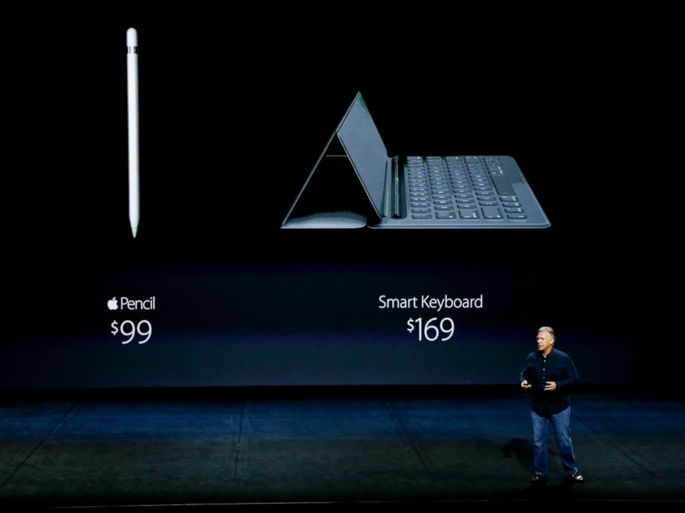 PHOTO: Phil Schiller, Apples senior vice president of worldwide marketing, announces the pricing for the Apple Pencil and the Smart Keyboard during the Apple event at the Bill Graham Civic Auditorium in San Francisco, Sept. 9, 2015.
