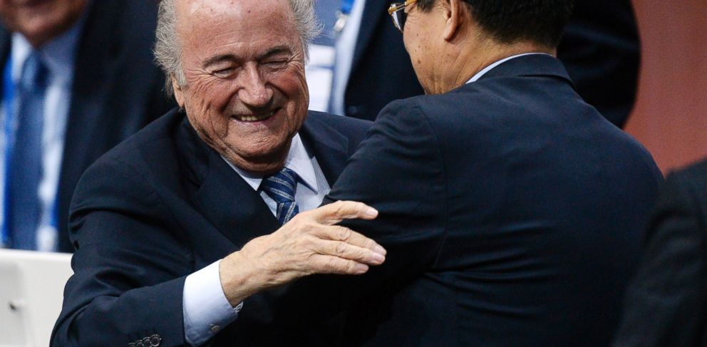 PHOTO: FIFA president Sepp Blatter is greeted after his re-election during the 65th FIFA Congress held at the Hallenstadion in Zurich, Switzerland, May 29, 2015.