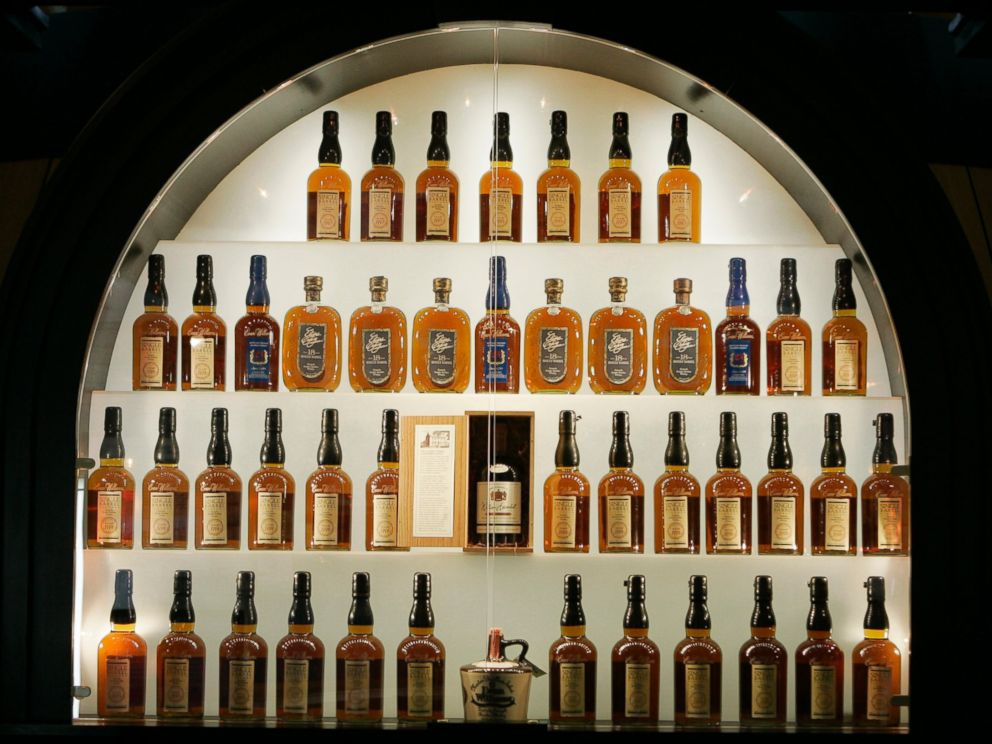 PHOTO: Bottles of bourbon are on display in a case at the Heaven Hill Bourbon Heritage Center in Bardstown, Ky. on April 8, 2009.
